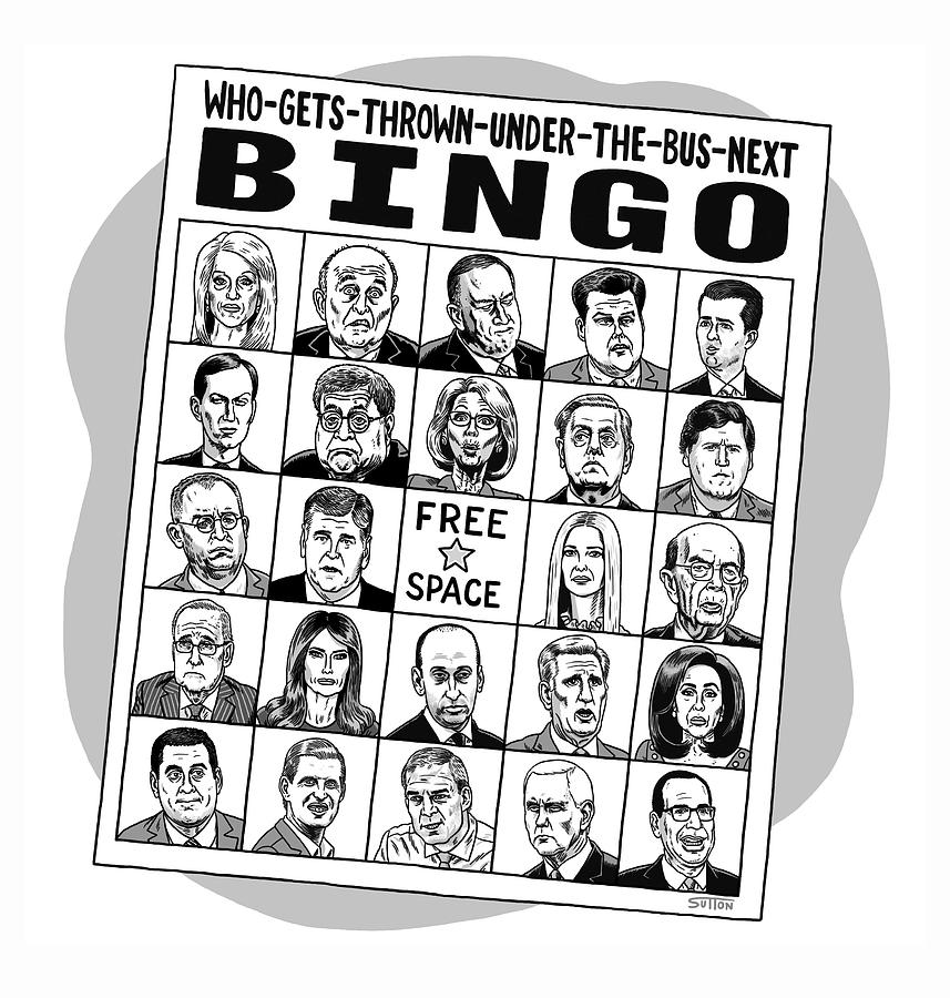 Under the Bus Bingo Drawing by Ward Sutton