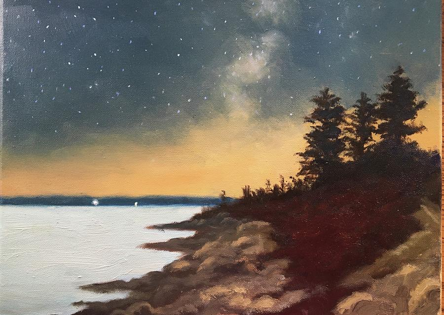 Milky Way Painting - Under the Milky Way, Bay of Fundy by Laura Roberts