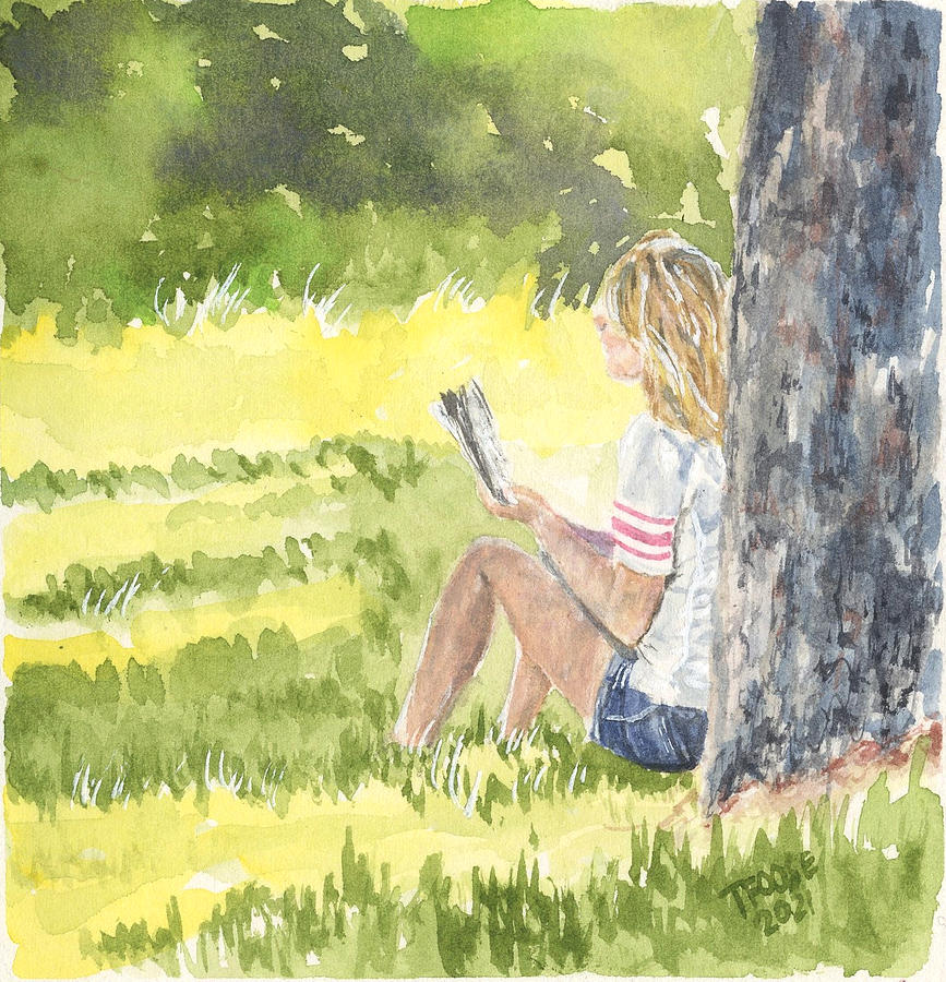 Under The Umbrage With A Book Painting