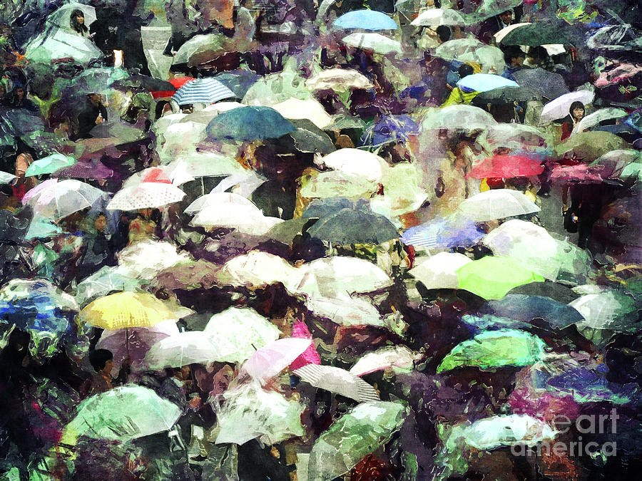 Rain Digital Art - Under Umbrellas by Phil Perkins