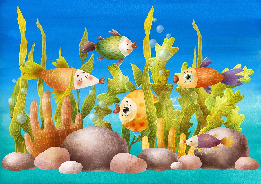 Undersea World Cartoon Image by Cool Vintage Art