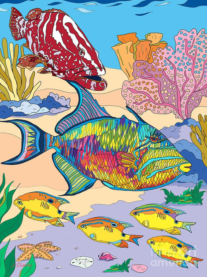 Underwater Scene With Triggerfish Digital Art
