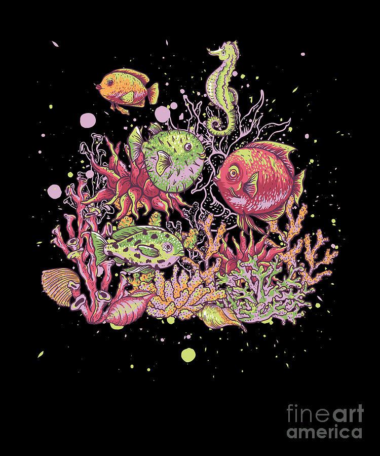 Underwater Sea Creature Aquatic Animals Marine Biologist Coral Reef Aquascaping Digital Art By Thomas Larch