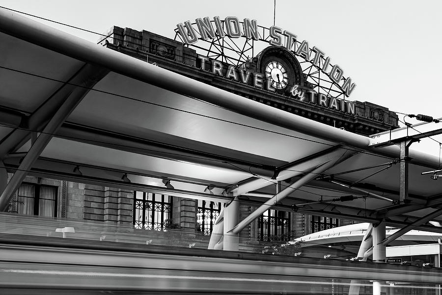 Union Station - Denver Colorado Travel By Train Neon Monochrome Photograph