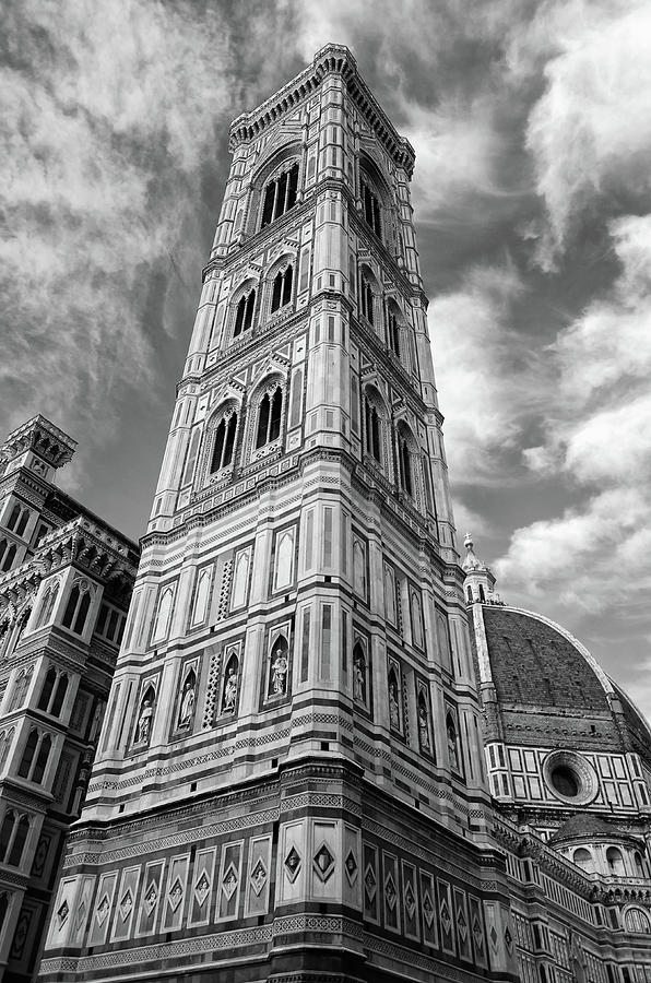 Unique Perspective on Giotto's Campanile Bell Tower Florence Italy Black and White by Shawn O'Brien