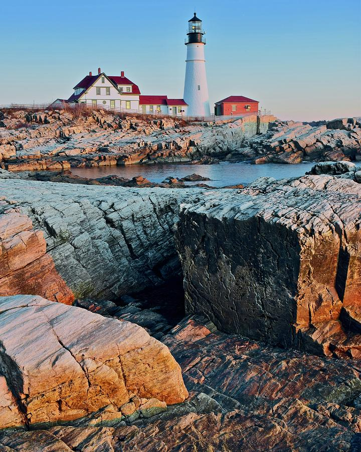 Portland Photograph - Unique View Of Portland Head by Frozen in Time Fine Art Photography