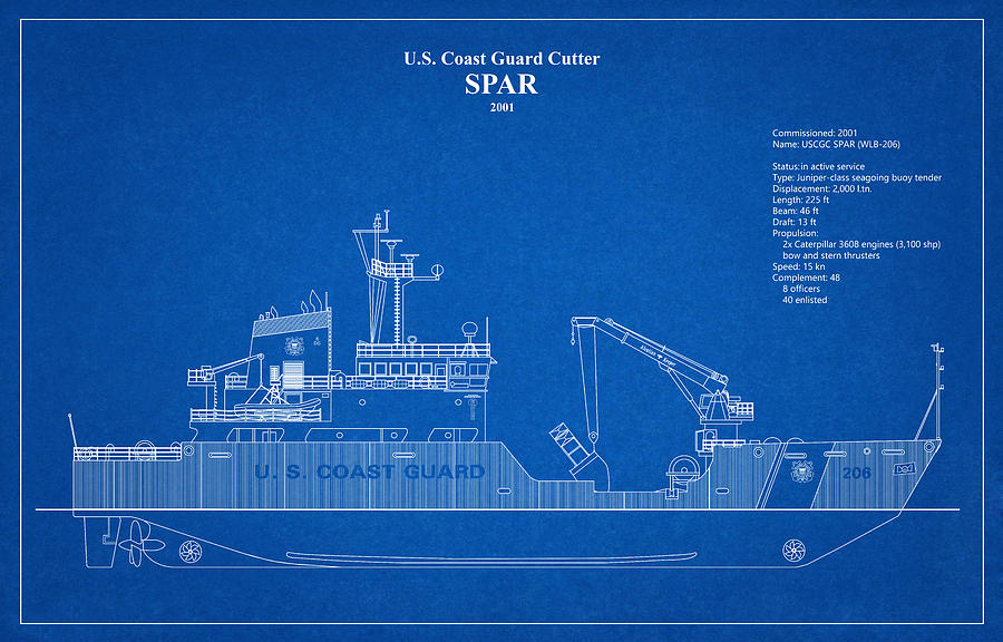 b01 - United States Coast Guard Cutter Spar wlb-206 by JESP Art and Decor