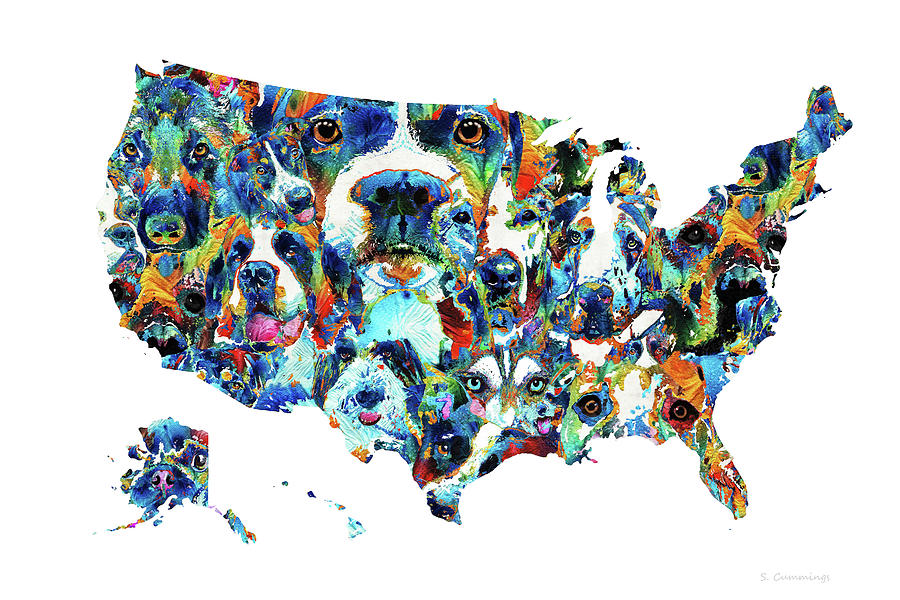 Dog Painting - United States Map - Dog Nation - Sharon Cummings by Sharon Cummings