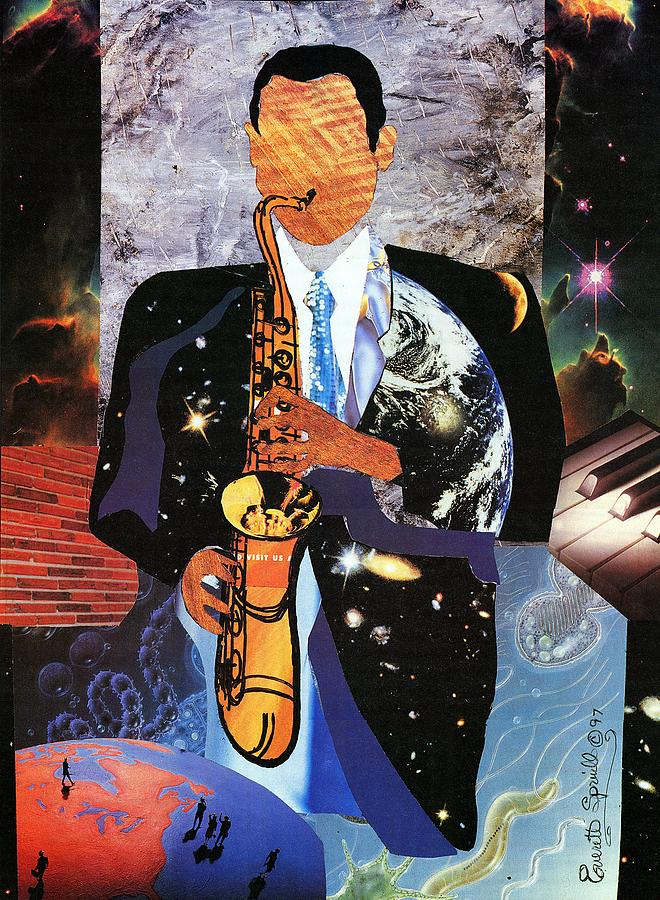 Cubism Painting - Universal Sax by Everett Spruill