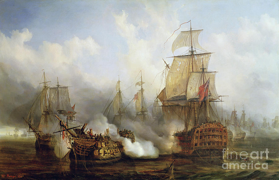 The Painting - Unknown title Sea Battle by Auguste Etienne Francois Mayer