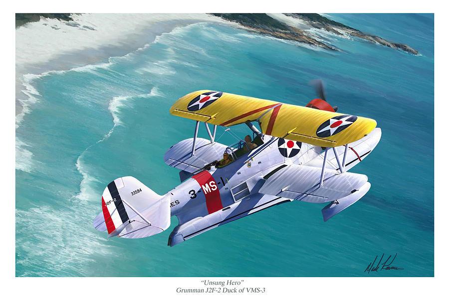 Aviation Painting - Unsung Hero - Grumman J2F Duck by Mark Karvon
