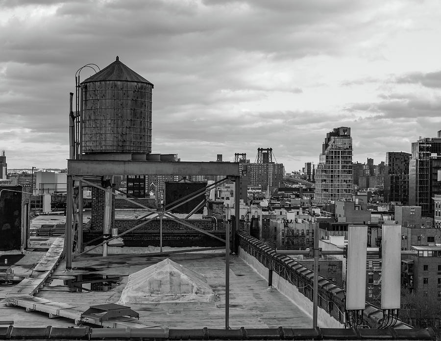 Up On The Rooftop - Black And White Photograph