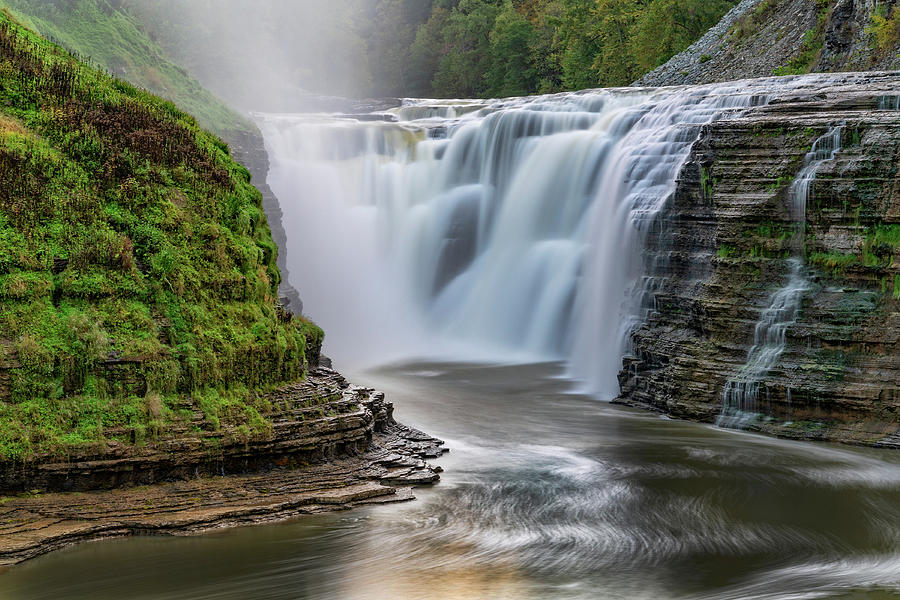 Upper Falls At Letchworth State Park In New York by Jim Vallee