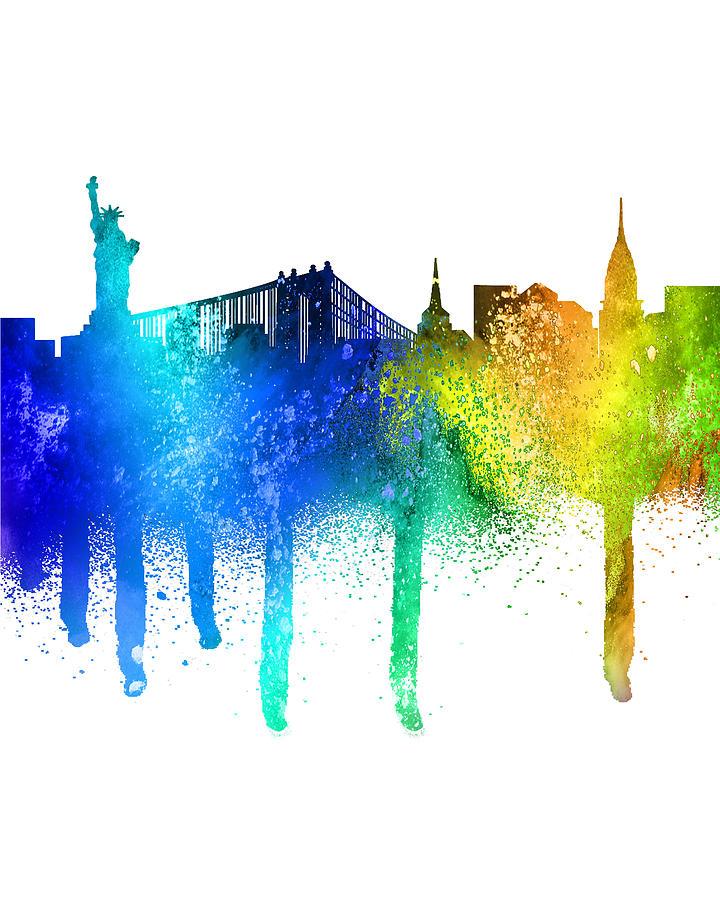 Urban New York City Graphic Tee Graffiti Spray Paint New York City Skyline Painting