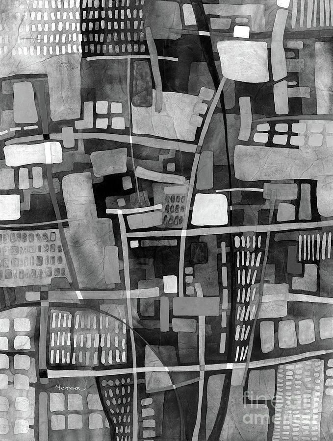 Urbanscape In Black And White Painting
