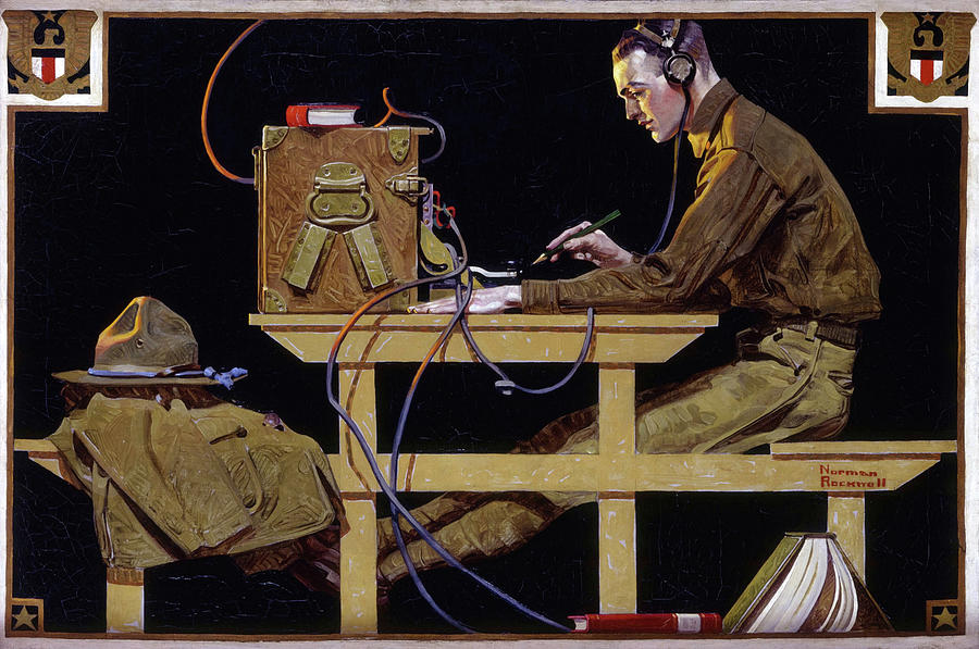 Norman Rockwell Painting - U.S. Army Teaches a Trade, G.I. Telegrapher, 1919 by Norman Rockwell