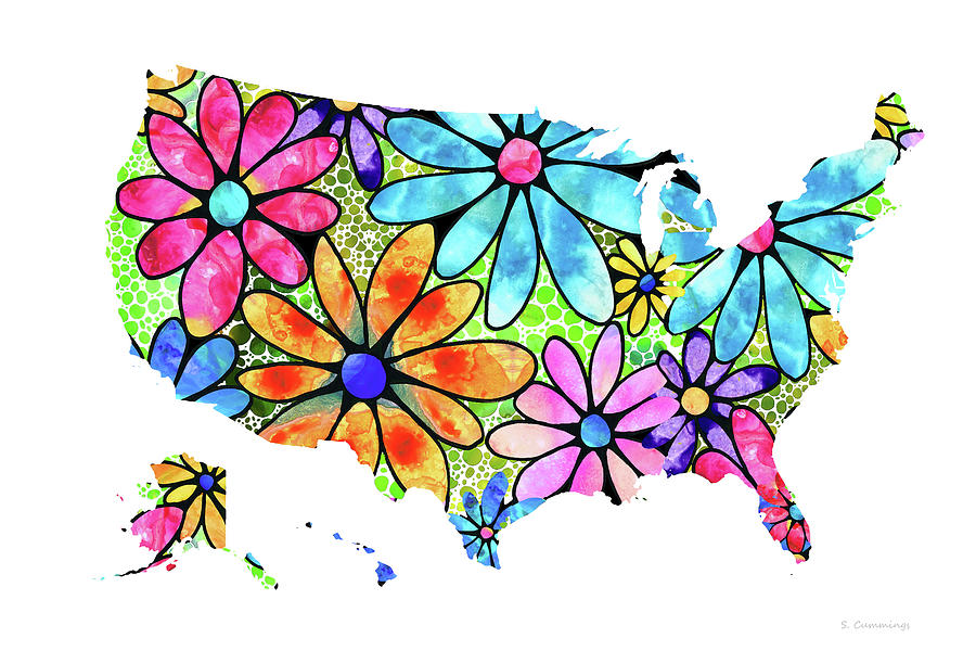 Map Painting - USA Map 33 - Flowers of The United States of America - Sharon Cummings by Sharon Cummings