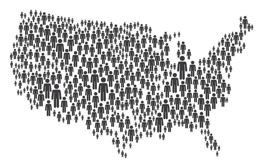 USA Map Made of Grey Stickman Figures Drawing by Bamlou