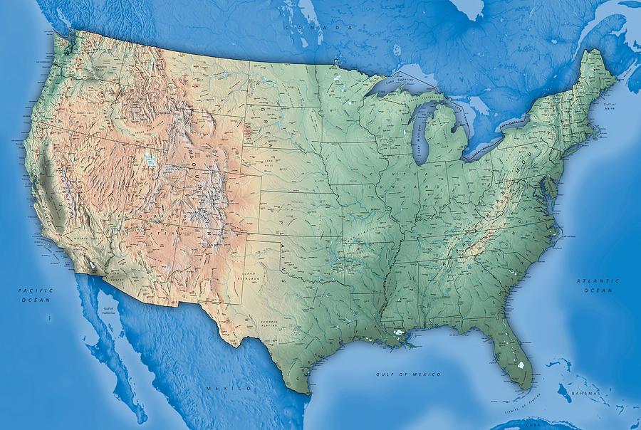 Usa Map Photograph by Ziggymaj