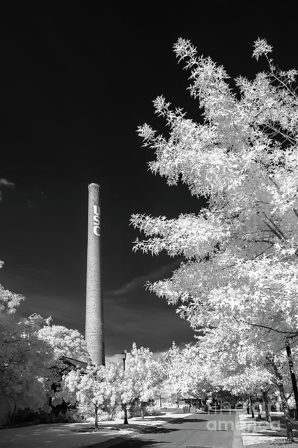 USC Smokestack B and W by Charles Hite