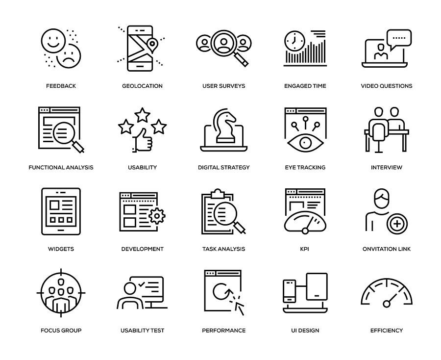 User Experience Icon Set Drawing by Enis Aksoy