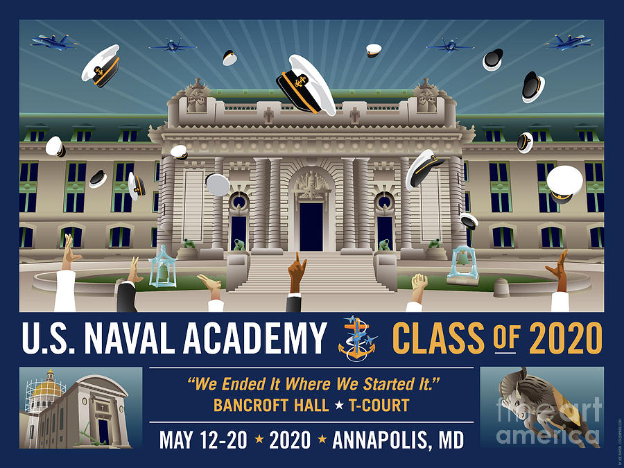 Usna Digital Art - USNA Class of 2020 Bancroft Hall T Court Celebration with Blue Angels by Joe Barsin