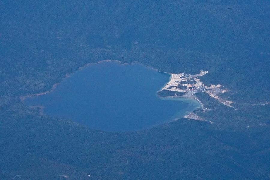 Usori lake and Mount Osore daytime aerial view from airplane Photograph by Taro Hama @ e-kamakura