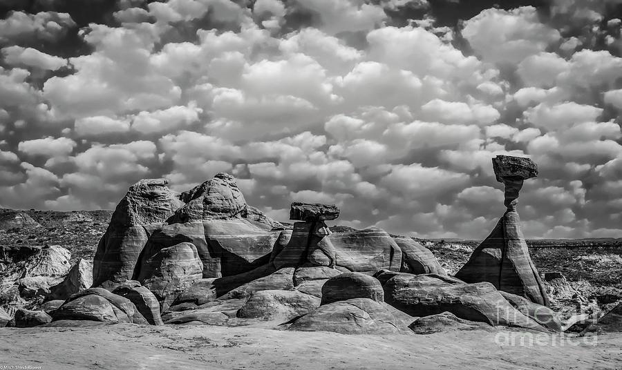 Kanab Utah Photograph - Utah Hoodoos Monochrome by Mitch Shindelbower