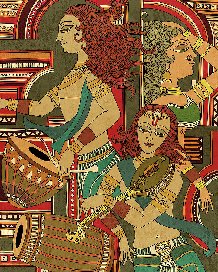 Utsav 2 - Traditional Indian Art Depicting Celebration And Festivity - Mural Painting - Diptych Mixed Media