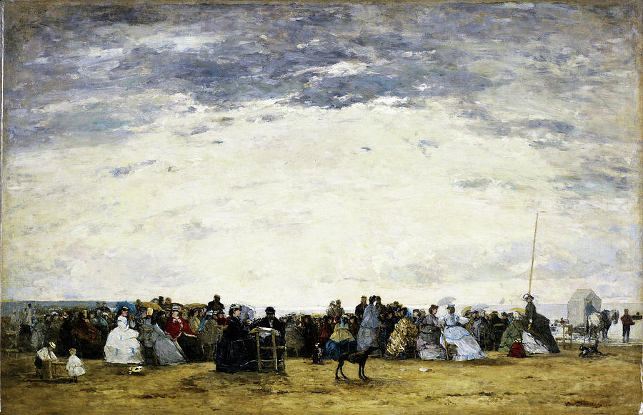 Eugene Louis Boudin Painting - Vacationers On The Beach At Trouville - Digital Remastered Edition by Eugene Louis Boudin