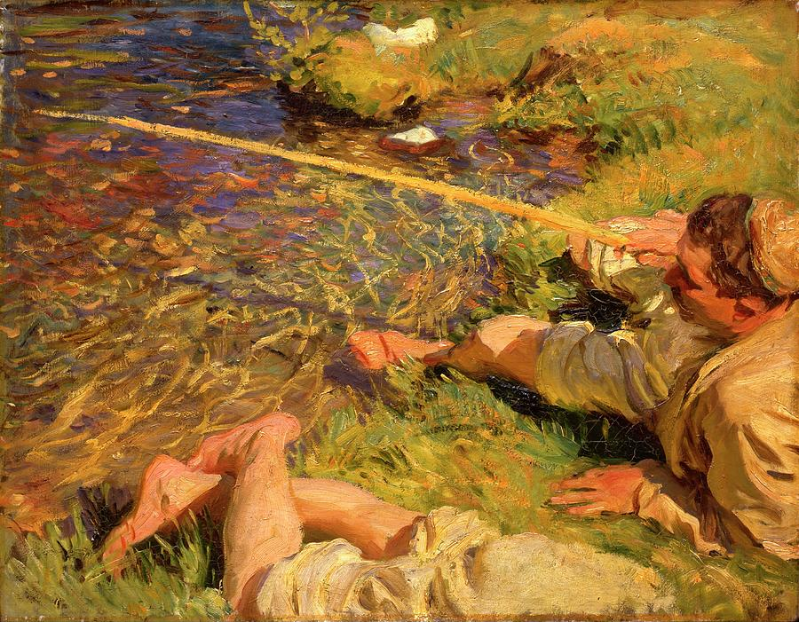 Val Daosta A Man Fishing By John Singer Sargent Painting