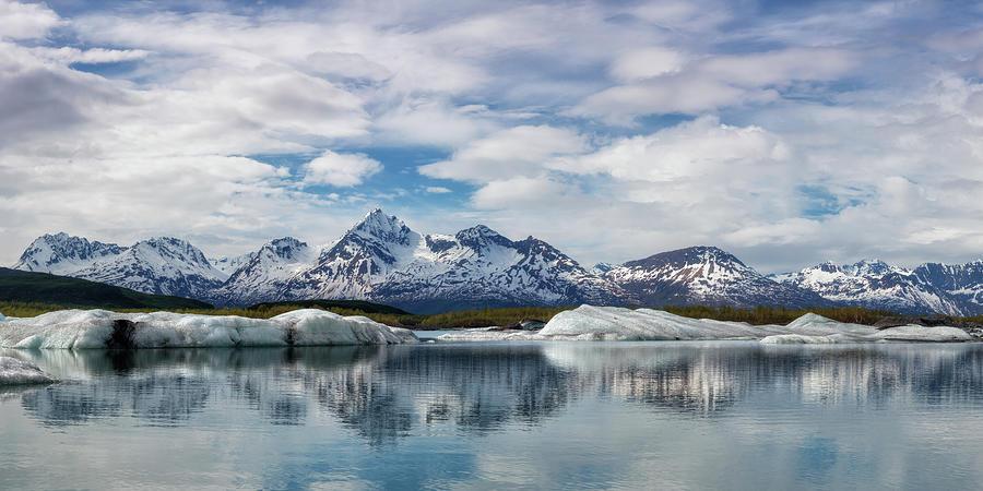 Valdez Iceberg Lake Reflection - Panorama Photograph