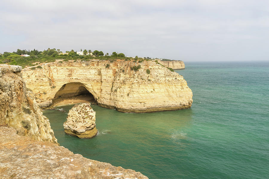 Vale Covo In Gold And Turquoise - Large Seacave At Carvoeiro Algarve Portugal Photograph