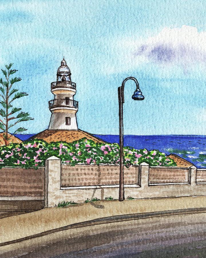 Valencia Spain Lighthouse Faro De Cullera Watercolor Painting