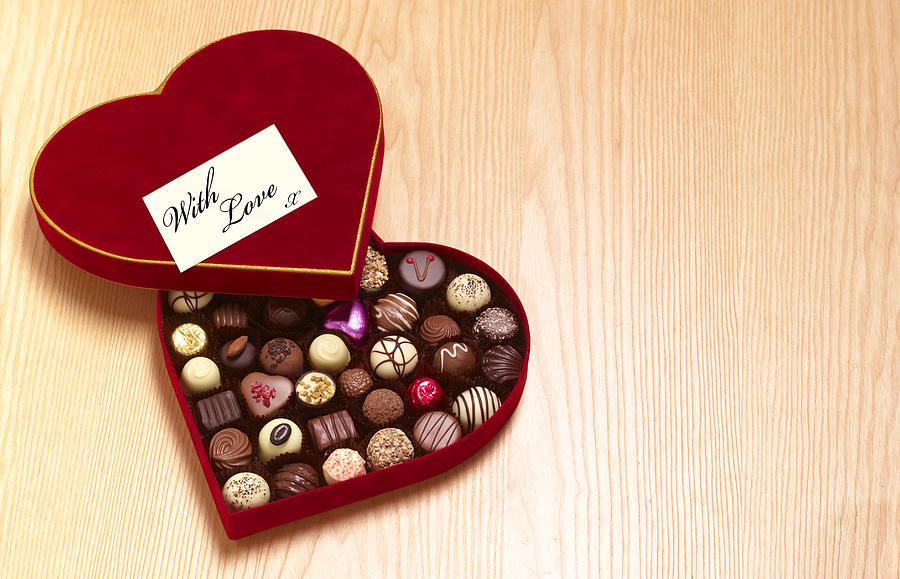 Valentines day heart shaped chocolates Photograph by Peter Dazeley
