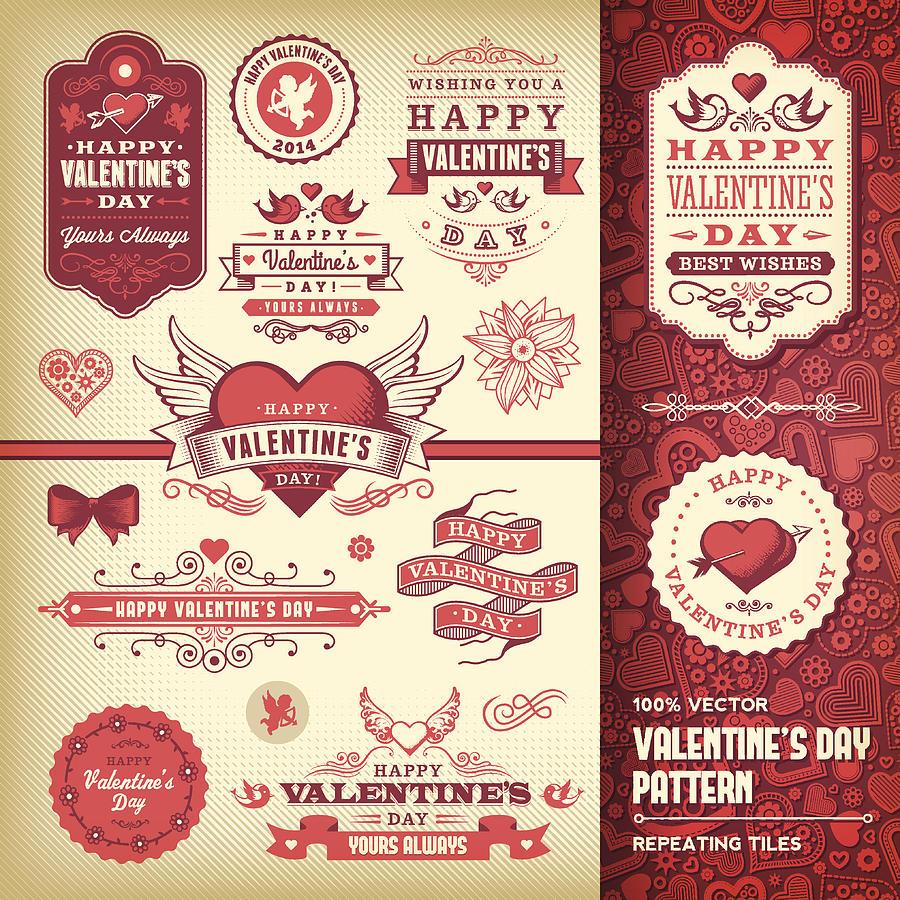 Valentines Day Label Set Drawing by DavidGoh