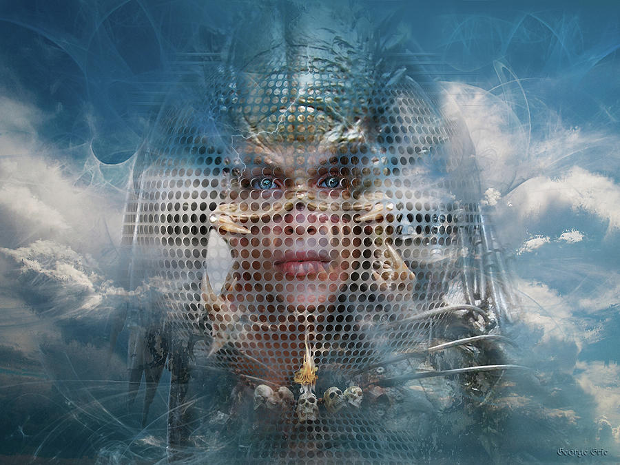 Neo Surrealism Digital Art - Valkyrie Phantom or Optical Illusion of Face by George Grie