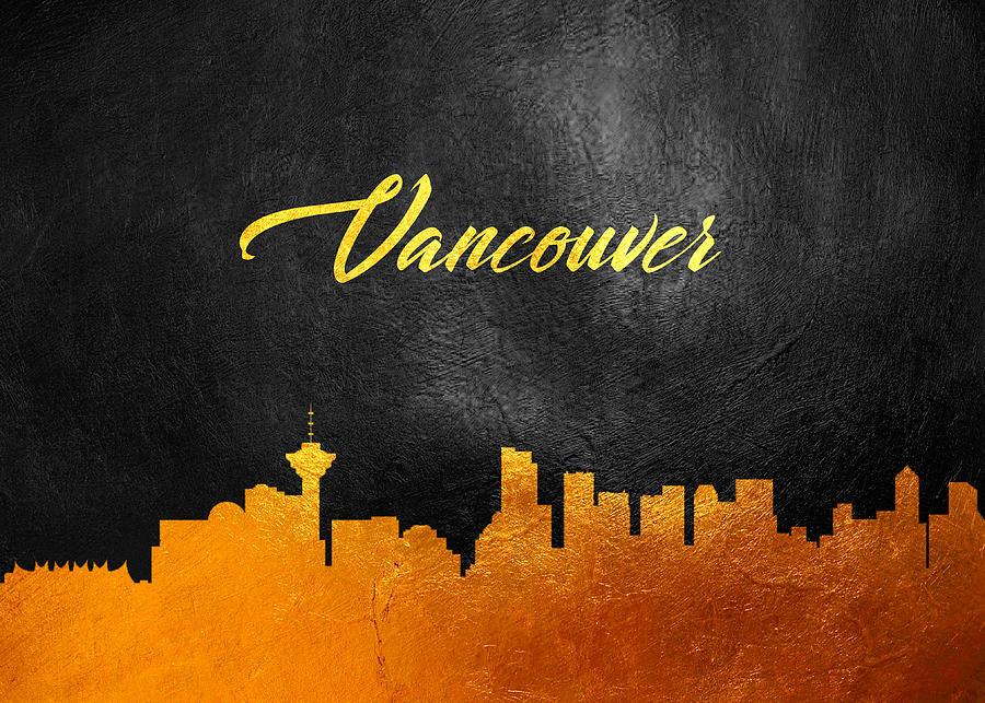 Vancouver Canada Gold Skyline Digital Art