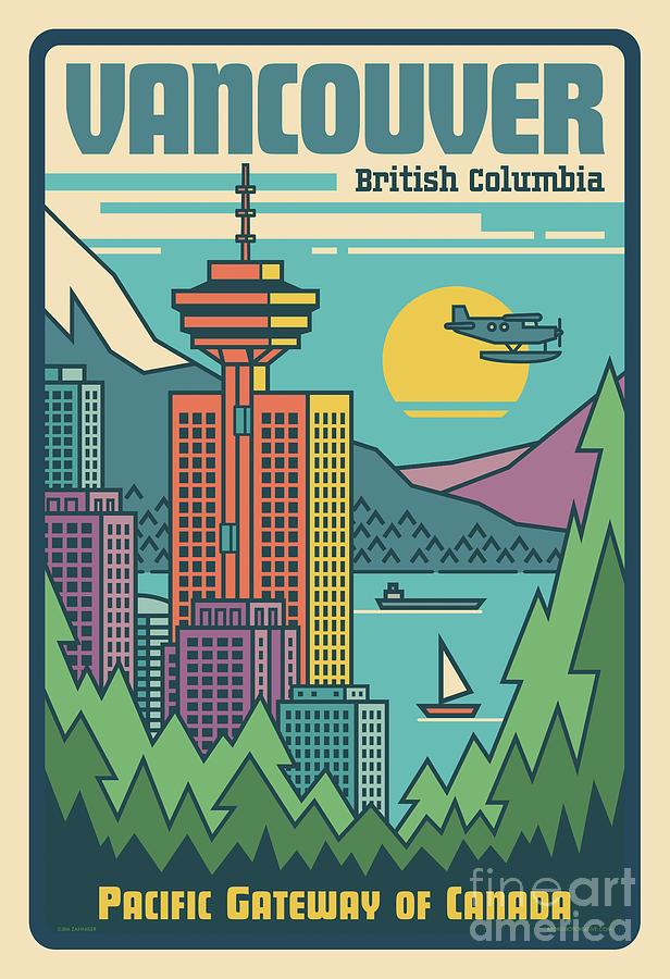 Vancouver Digital Art - Vancouver Pop Art Poster by Jim Zahniser