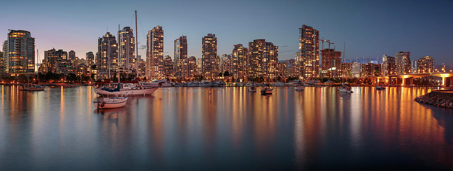 Vancouver Skyline At Dusk Panoramic Photograph