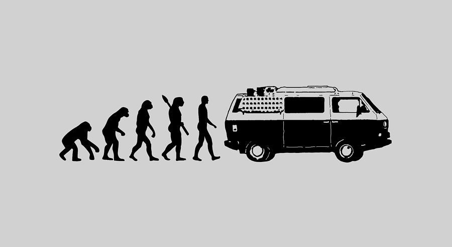 Van Digital Art - Vanlife Evolution black by Martin Schneiter