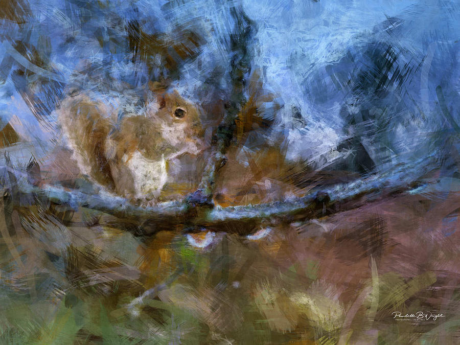 Variation OF Squirrel On A Branch by Paulette B Wright