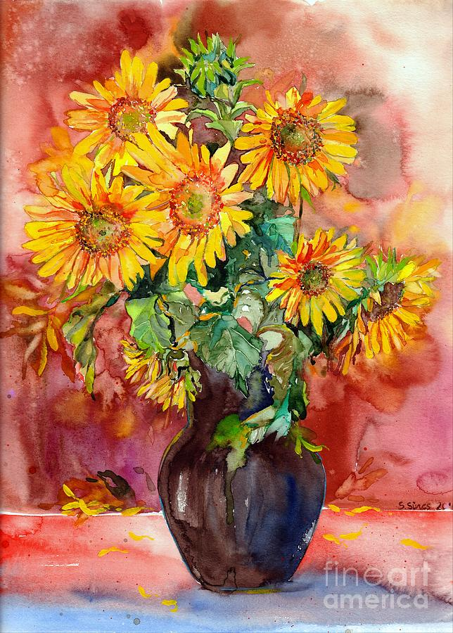 Sunflowers Painting - Vase With Sunflowers by Suzann Sines