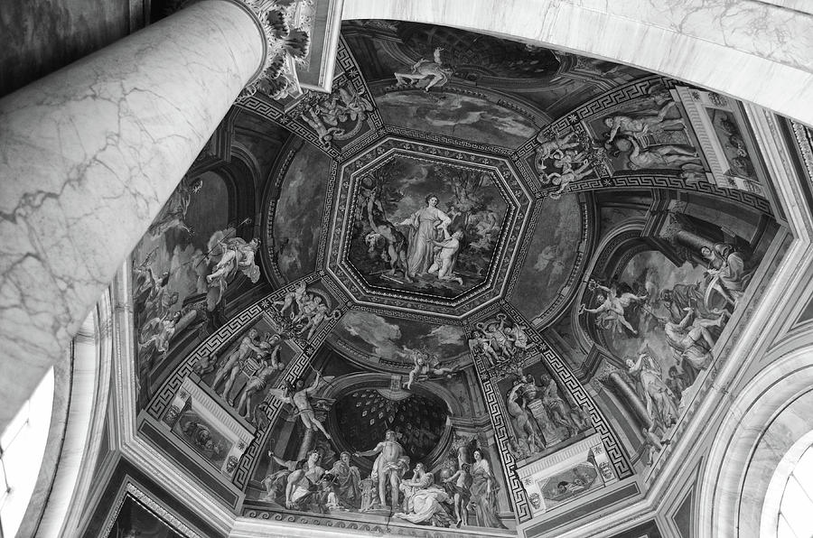 Vatican Museum Interior Dome Frescoes Black and White by Shawn O'Brien