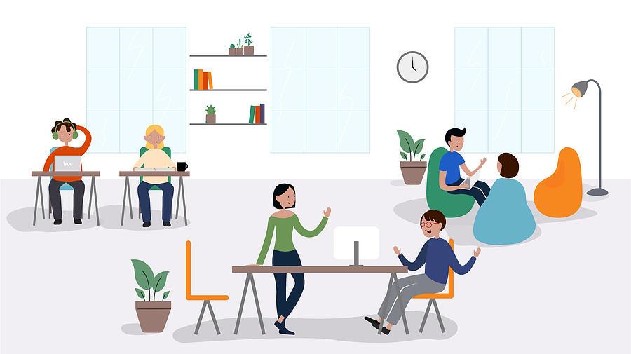 Vector Illustration of Coworking Concept. Flat Modern Design for Web Page, Banner, Presentation etc. Drawing by Designer