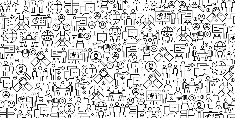 Vector set of design templates and elements for Business People in trendy linear style - Seamless patterns with linear icons related to Business People - Vector Drawing by Cnythzl
