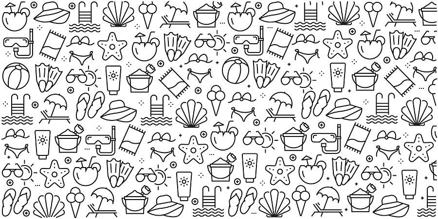 Vector set of design templates and elements for Summer and Beach in trendy linear style - Seamless patterns with linear icons related to Summer and Beach - Vector Drawing by Cnythzl