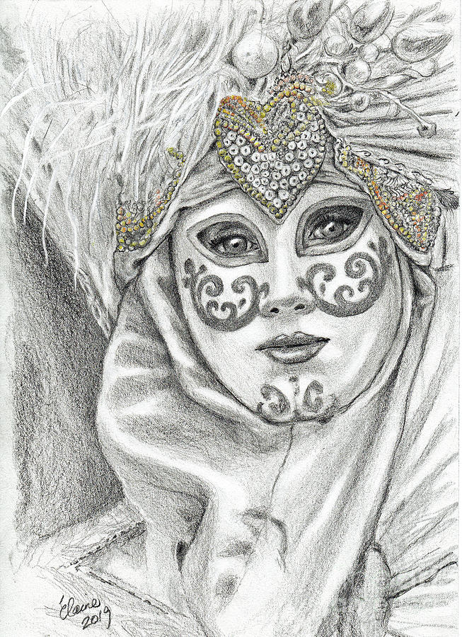 Venetian Mask 5 Drawing By Elaine Berger