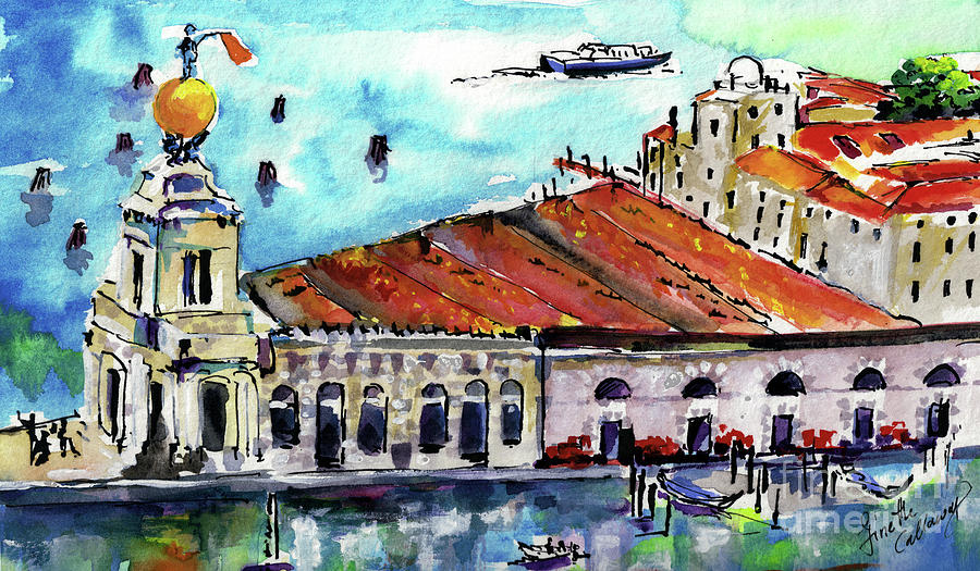 Venica Italy Famous Buildings Painting by Ginette Callaway