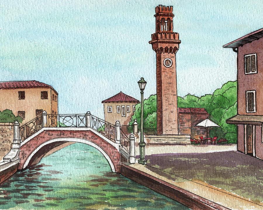 Italy Painting - Venice Italy Murano Island Canal And Tower by Irina Sztukowski